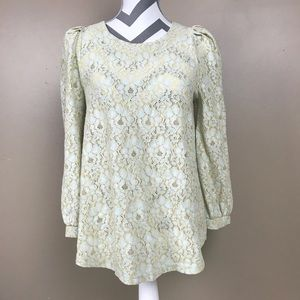 Anthropologie Comme Toi floral embroidered top